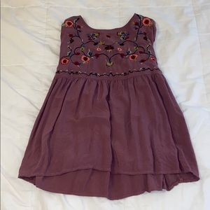 Maroon blouse with flower embroidery on top